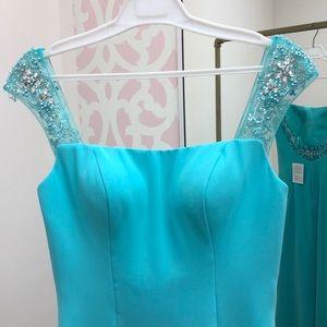 Mary's Bridal Dresses - Aqua Beaded Chiffon Gown. Mary's Bridal #FY8303
